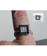10k White Gold Blue Princess Cut Diamond Square Ladies Engagement Ring .... - $296.26
