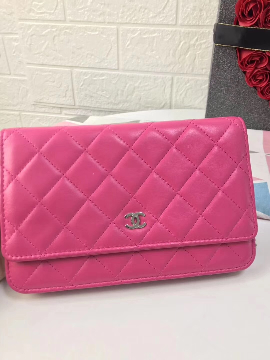 100% AUTH CHANEL WOC Quilted Lambskin PINK Wallet on Chain Flap Bag SHW image 2