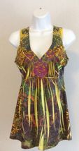 One World Top Small Yellow Green Orange Pink Boho Hippie Tunic - $18.80