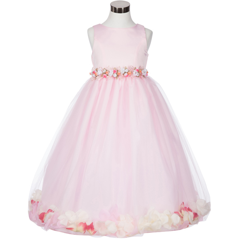 White Satin Bodice Floating Baby Pink Flower Petals Layer Tulle Skirt Girl Dress