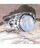 Rainbow Moonstone Silver handmade gemstone ring size 6 #007 - $30.00