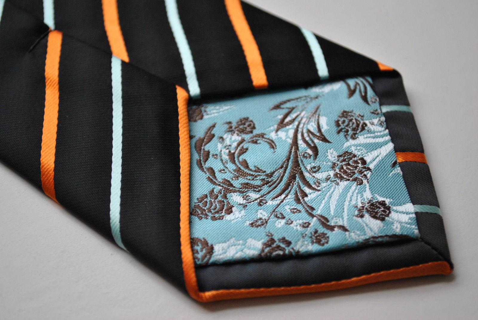 Frederick Thomas Designer Mens Tie - Black - Burnt Orange & Light Blue Striped