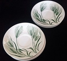 Six (6) Homer Laughlin Wheat Americana Saucers Green and White Saucers - $24.74