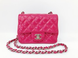 AUTHENTIC CHANEL PINK QUILTED PATENT LEATHER SQUARE MINI CLASSIC FLAP BAG SHW