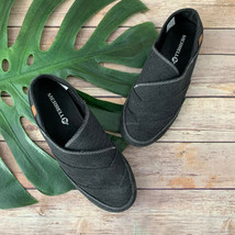 Merrell Womens Inde Canvas Flats Size 6.5 Black Gray Slip On Round Toe - $35.63