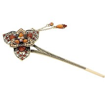 Retro Classic Flowers Women Girls Rhinestone Hair Pin Hair Stick Coffee - $13.80
