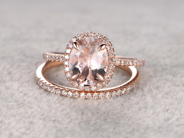 14K Rose Gold Fn Bridal Wedding Ring Set 2Ct Oval Cut Simulated Diamond  - $120.00