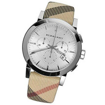 NEW Burberry Men's City Leather Strap  Nova Check Chronograph Watch BU9357 - $276.21
