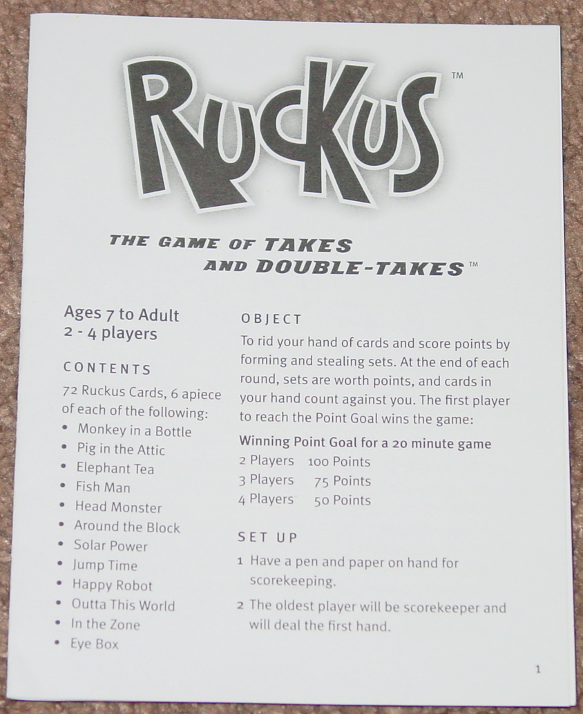 RUCKUS GAME 2005 FUNSTREET GAMES COMPLETE LIGHTLY PLAYED CONDITION