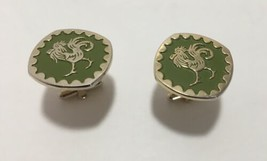 Emerald Green & Gold Colored Rooster Cufflinks Estate Sale Find Vintage ... - $61.70