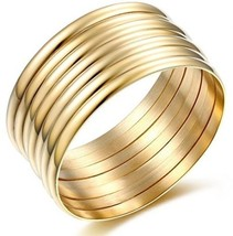 High Polish Set Of 7 Stacked Gold Bangle Bracelets For Women 14k - $58.25