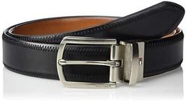 Tommy Hilfiger Men's Reversible Belt, black/tan stitch, 36