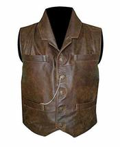 Anson Mount Cullen Bohannon Hell On Wheels Distressed Brown Leather Vest image 1