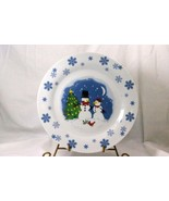 Trisa Blue Snowflakes And Snowman With Tree Dinner Plate - $5.03