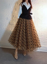 Full Long Tulle Skirt High Waisted Polka Dot Tulle Skirt Outfit Plus Size Puffy image 3