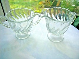 Fostoria Colony Pattern Clear Glass Creamer & Sugar Bowl Set - $24.74