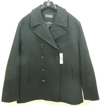 Michael Kors Men's Black Wool Double Breasted Topcoat Pea Coat Jacket XL - $99.99