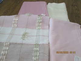 Lot of 4 Vintage Tablecloths  3 Are New Linen  Pinks  & Ivory (5) - $11.65