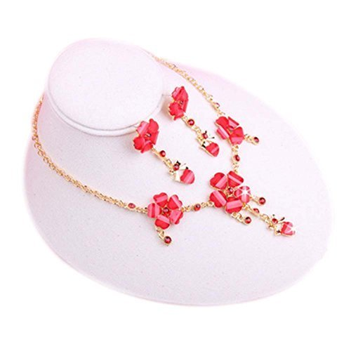 Wedding Necklace and Earrings for Bride RED Flowers Pattern Pendent Jewelry Set
