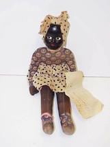VTG 1947 Black Mammy Cloth Doll Fiber (Buckram?) Head w/Earrings & Tuft ... - $30.39