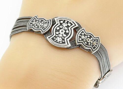 925 Sterling Silver - Vintage Floral Detail Multi-Strand Chain Bracelet - B5757