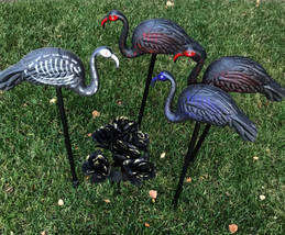 Skelemingos Flamingo Skeleton 3pc Outdoor Plastic Decor w Stakes - $35.64