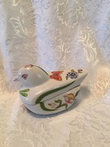 PRESTIGE porcelain FOLK ART Bird Candle Trinket Box Unused - $7.35