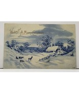 Wishing You A Merry Christmas Blue and White Snow Scene Shimmery Postcar... - $5.95