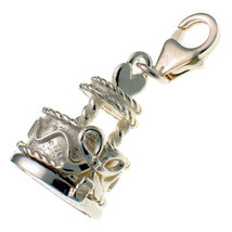 Sterling 925 British Silver Clip Charm Opening Wedding Heart Cake, Bride & Groom - $39.41