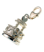 Sterling 925 British Silver Clip Charm Opening Wedding Heart Cake, Bride... - $39.41