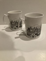 The Old Town Edinburgh set of 2 mugs Designed in Scotland by A M Currie ... - $29.69