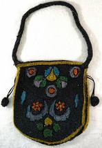Antique Glass Beaded Purse / Handbag Black & Bright Colored Beads - $59.99
