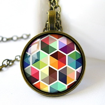Retro Style Handmade Glass Dome Necklace, Multicolor Geometric Pattern, ... - £5.95 GBP