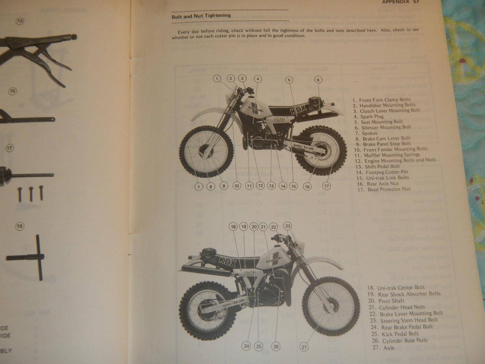 ... 1982 KAWASAKI KDX250-B2 KDX250 KDX 250 B2 250B2 KDX250B2 OWNER SERVICE  MANUAL #3 ...
