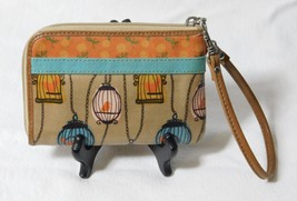 Fossil Keyper Coated Canvas Khaki w/Birds & Cages Wristlet