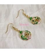 Dangle Cloisonne Beaded Earrings Emerald Green Gold GP - $12.99+