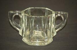 Old Vintage Sugar Bowl w/o Lid Clear Glass Six Sided Paneled Starburst B... - $12.86