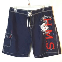 Polo Ralph Lauren Board Shorts 40 Navy Red HMS Embroidered Nautical Trunks - $26.72
