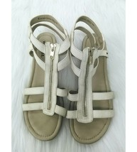 White Mountain Womens Sz 8 Sandals Off White Slingback Peep Toes Zipper ... - $14.99