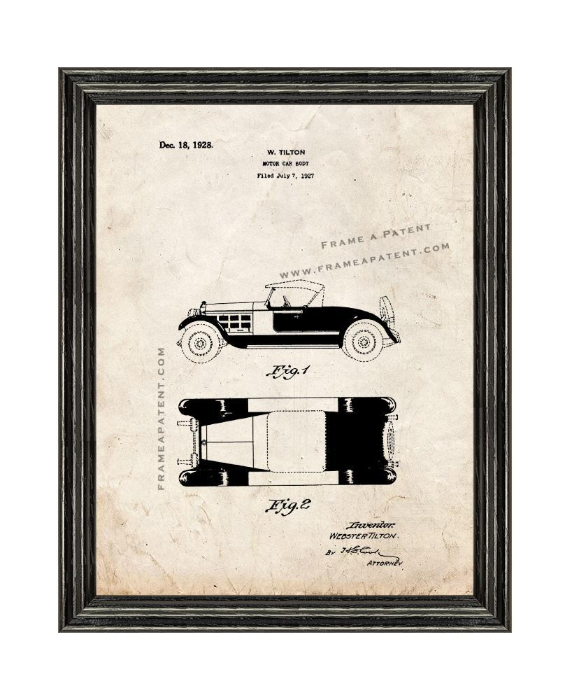 Motor-car Body Patent Print Old Look with Black Wood Frame - $24.95 - $109.95