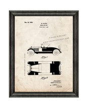 Motor-car Body Patent Print Old Look with Black Wood Frame - $24.95+