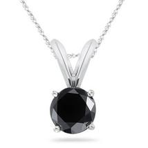 "2.00 Carat Black Diamond 14K Solid White Gold Solitaire Pendant w/ 18"" C... - $205.83+"