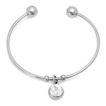 PIATELLA Ladies Stainless Steel solitare charm cuff adorned Swarovski Crystal - $13.99