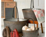 Set 3 Round Buckets with Handles in Distressed Tin