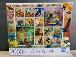 Finchley Paper Arts 2000 Piece Puzzle Birds Of Asia Milton Bradley Premium 32x24 - $26.42