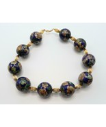 Vintage 25 mm. 10 CLOISONNE BEAD NECKLACE 12k G.F. YELLOW GOLD BEADED CH... - $149.99