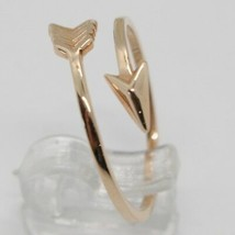 18K ROSE GOLD ARROW RING SMOOTH BRIGHT LUMINOUS DOUBLE WIRE MADE IN ITALY image 2