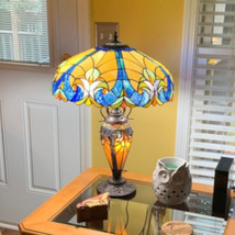 Tiffany Style Table Lamp Golden Blue Stained Glass Accent Reading Reading Lamp - $201.77