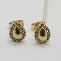 18K YELLOW GOLD EARRINGS, DROP WITH ZIRCONIA, LENGTH 9 MM, MADE IN ITALY image 1