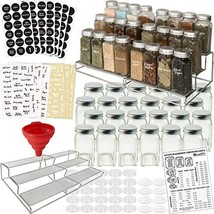 3-Tier Spice Racks and 24 Glass Spice Jar & 2 Types of Printed Spice Lab... - £29.80 GBP